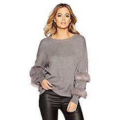 Quiz - Light grey knit diamante faux fur trim jumper
