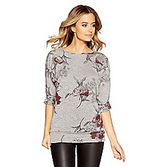 Quiz - Grey and berry light knit floral top
