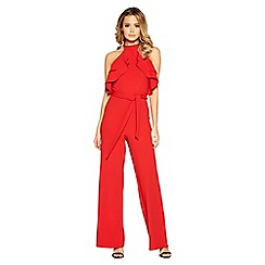 Quiz - Red frill front palazzo jumpsuit