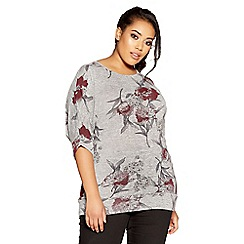 Quiz - Curve grey and berry light knit floral top