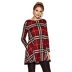 Quiz - Burgandy knit check long sleeve tunic dress