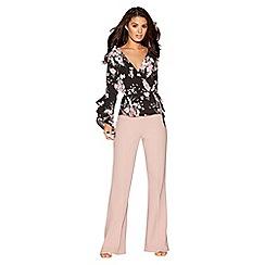 Quiz - Dusk pink high waist wide leg trousers
