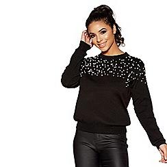 Quiz - Black knit pearl embellished jumper