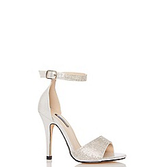 Quiz - Silver shimmer diamante ankle strap sandals