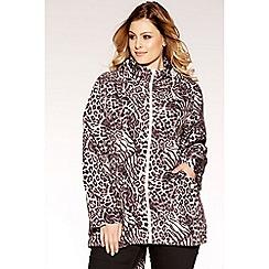Quiz - Curve grey and black leopard print jacket