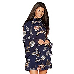 Quiz - Navy and stone high neck flute sleeve dress