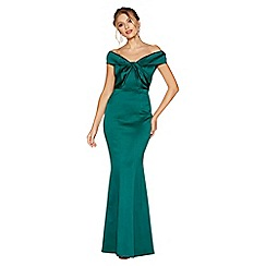 Quiz - Emerald green satin bardot knot front fishtail maxi dress
