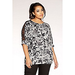Quiz - Curve black and grey floral knit top