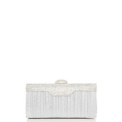 Quiz - Silver pleat diamante trim box bag