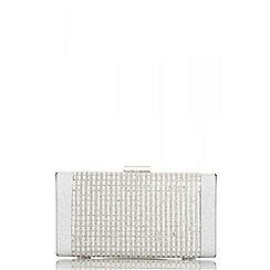 Quiz - Silver shimmer diamante front  box bag