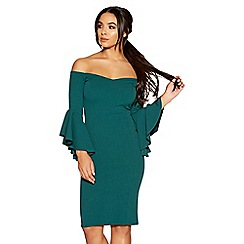 Quiz - Bottle green frill cuff bardot dress