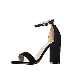 Quiz - Black faux suede heel sandals