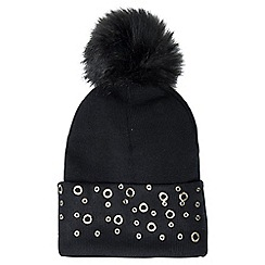 Quiz - Black pom pom eyelet hat