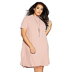 Quiz - Curve dusty pink knit ribbed cap sleeve dress
