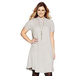 Quiz - Curve light grey knit ribbed cap sleeve dress