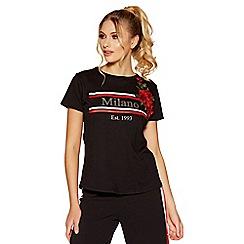 Quiz - Black slogan applique t-shirt