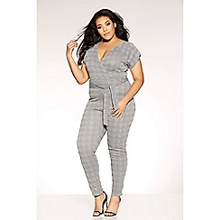 Quiz - Curve black and grey check wrap over jumpsuit