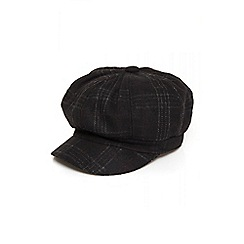 Quiz - Black tartan baker boy hat