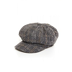 Quiz - Grey tartan baker boy hat