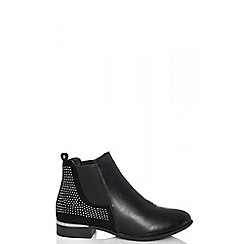 Quiz - Black faux suede felt diamante ankle boots