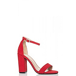 Quiz - Red faux suede barely there sandals
