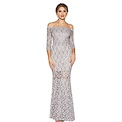 Quiz - Grey lace and sequin bardot maxi dress