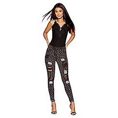 Quiz - Black denim embellished ripped jeans