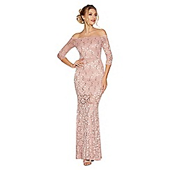 Quiz - Pale pink lace and sequin bardot maxi dress