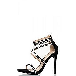 Quiz - Black strap diamante sandals