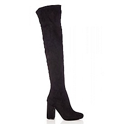 Quiz - Black faux suede stretch over the knee boots