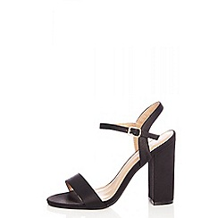 Quiz - Black satin barely there shoes