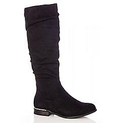 Quiz - Black faux suede ruched boots