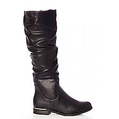 Quiz - Black ruched knee boots