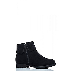 Quiz - Black faux suede diamante side zip flat boots