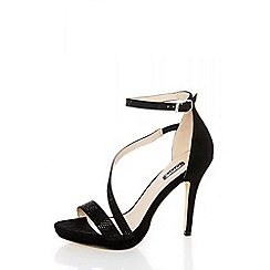 Quiz - Black diamante slant strap heel sandals