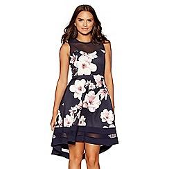 Quiz - Navy and pink floral dip hem dress