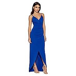 Quiz - Royal blue strap wrap front maxi dress