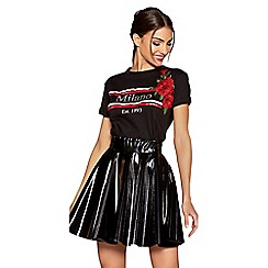 Quiz - Black vinyl skater skirt