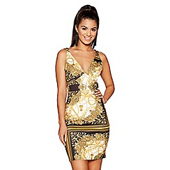 Quiz - Black and gold scarf print strap dress