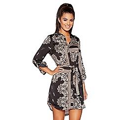 Quiz - Black and stone scarf print shirt dress