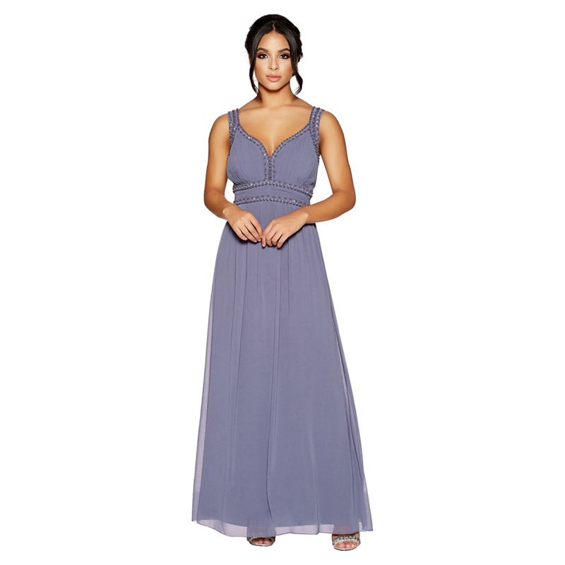 Quiz - Slate Grey Sweetheart Chiffon Maxi Dress