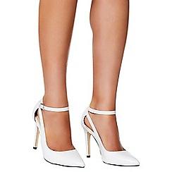 Quiz - White polyurethane cutout ankle strap court shoes