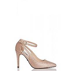 Quiz - Rose gold glitter cutout ankle strap shoes
