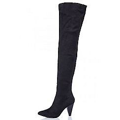 Quiz - Black faux suede ruched over the knee boots