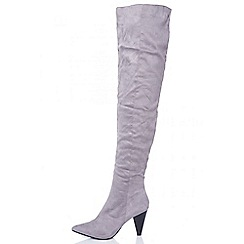 Quiz - Grey faux suede ruched over the knee boots