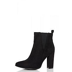 Quiz - Black faux suede chelsea boots