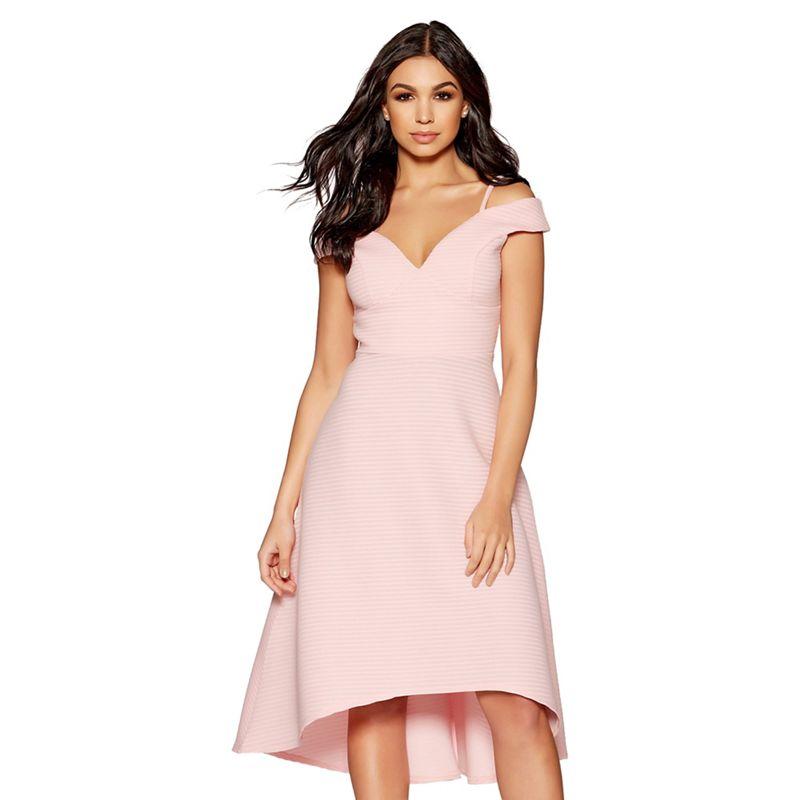 Quiz - Pink Stripe Detail Dip Hem Dress