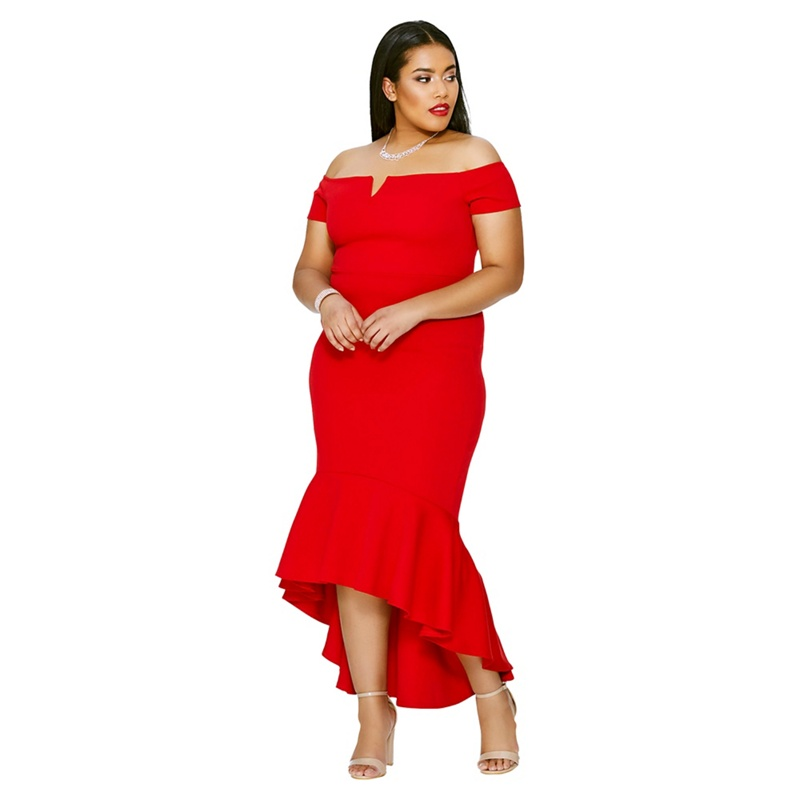 54c667abc524 Quiz - Curve Red Crepe Bardot Dip Hem Midi Dress - £24.99 - Bullring & Grand  Central