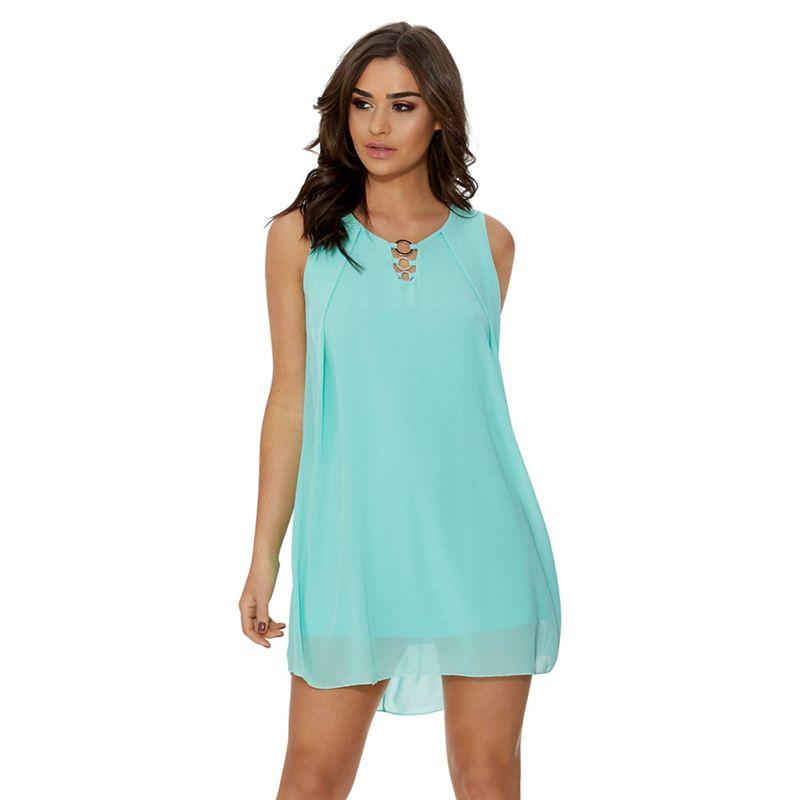 Quiz - Aqua Chiffon Sleeveless Tunic Dress