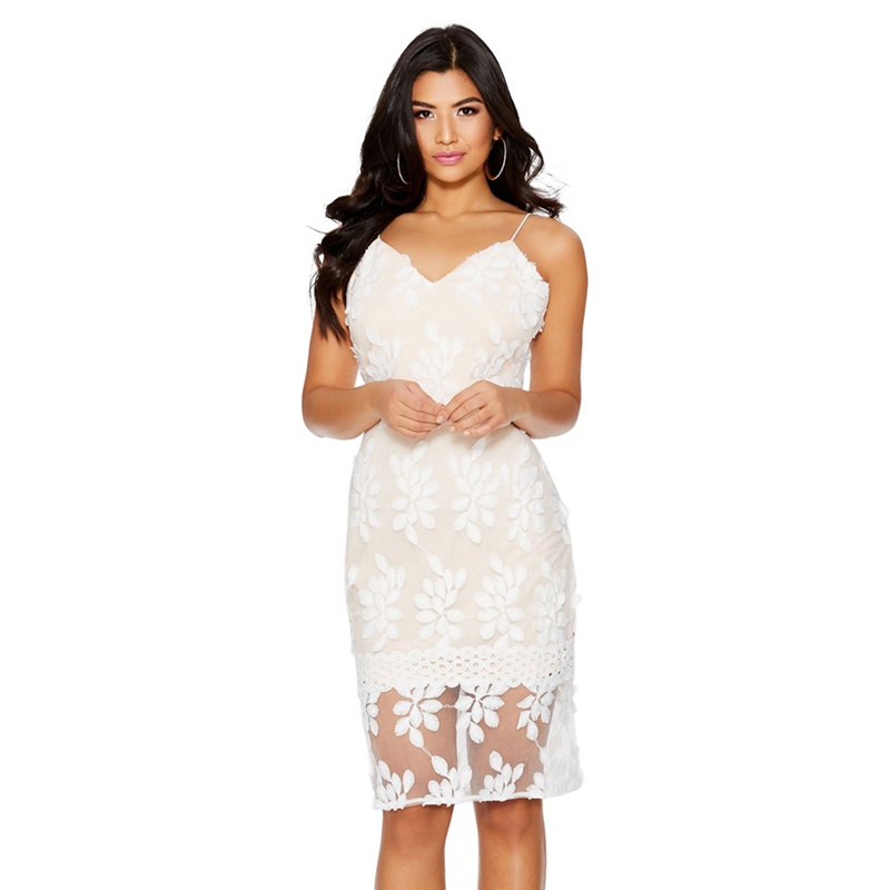 a23e3500d12 Quiz - Cream And Nude Mesh Flower Midi Dress - £16.99 - Bullring   Grand  Central
